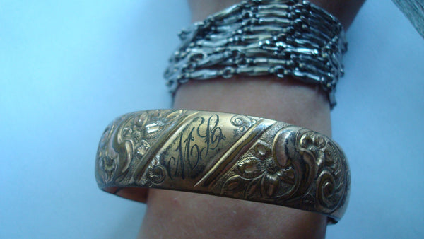 Antique Art Deco Copper Gold Slide Bracelet