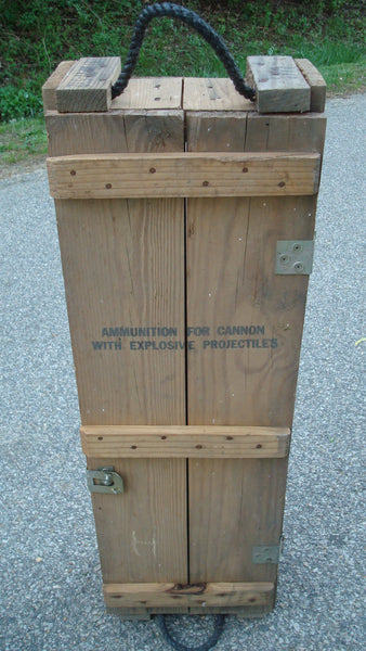 CANNON Ammunition Wooden Crate, WITH HANDLES and latch, Box, Storage Cubby, Military War Collectible
