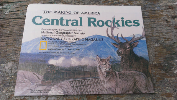 Central ROCKIES Map - Vintage Paper - Never opened - Perfect condition - National Geographic Magazine - August 1984