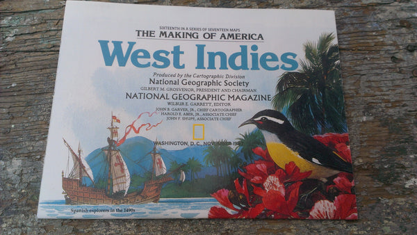 West Indies Map - Vintage Paper - Never opened - Perfect condition - National Geographic Magazine - November 1987