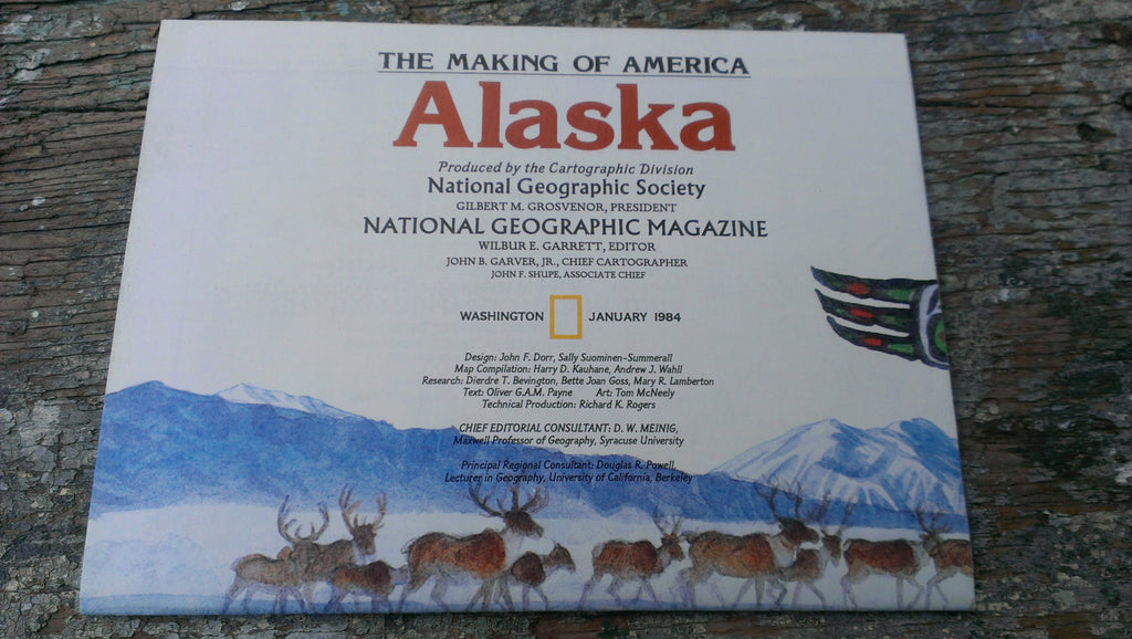 Alaska Map - Vintage Paper - Never opened - Perfect condition - National Geographic Magazine - January 1984