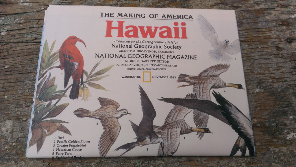 Hawaii Map - Vintage Paper - Never opened - Perfect condition - National Geographic Magazine - November 1983, FREE SHIPPING