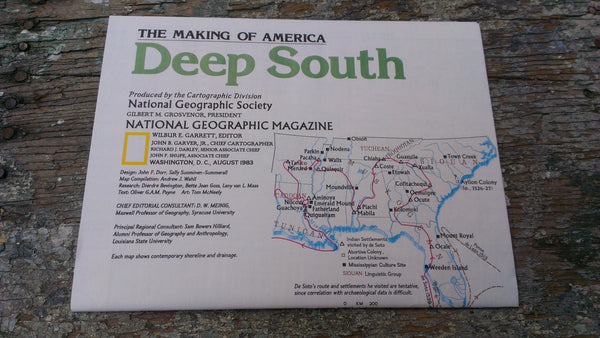 DEEP SOUTH Map - Vintage Paper - Never opened - Perfect condition - National Geographic Magazine - August 1983