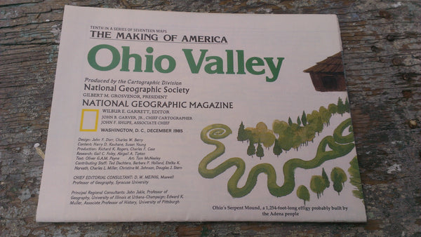 Ohio Valley Map - Vintage Paper -National Geographic Magazine - December 1985, FREE SHIPPING