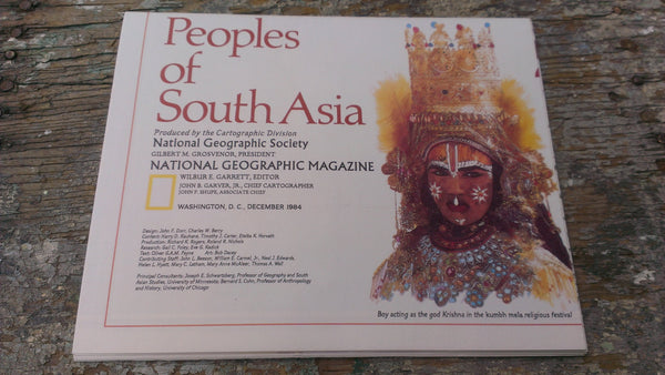 The Peoples of South Asia Map -Perfect condition - National Geographic Magazine - December 1984, FREE SHIPPING