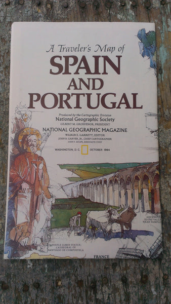 A Travelers Map of SPAIN and PORTUGAL,Perfect condition - National Geographic Map - October 1984, FREE Shipping