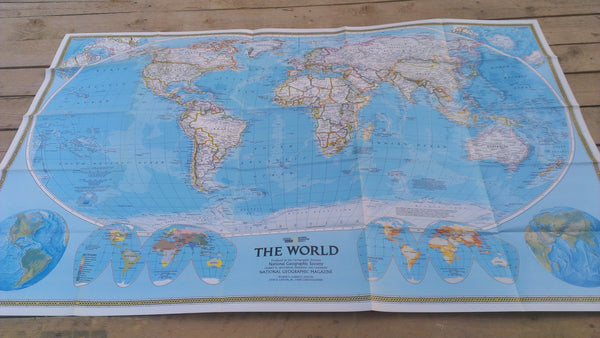 Endangered Earth Map vintage 1988, World Map