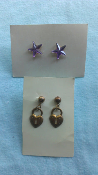 vintage purple star and gold lock heart earrings, pierced, FREE Shipping