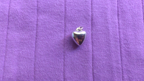 Tiny Silver Heart Charm, Pendant for Necklace, Vintage Jewelry