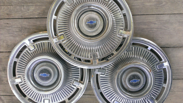 CHEVROLET 69-70's THREE Hubcaps, Vintage Vehicles Parts, Rare Original Parts, Accessories, Rims, Wheels, Tires