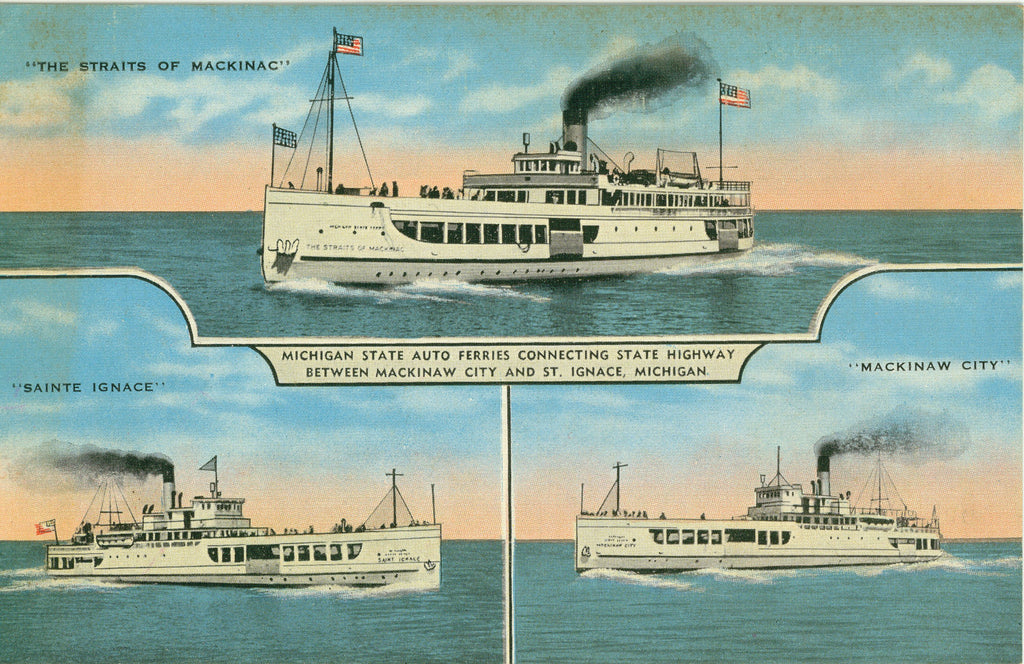 POST CARD, Color Photos, Michigan, St Ignace, Great Lakes, Ships,