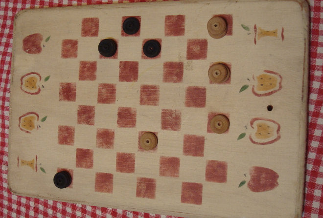 Wooden Vintage Checker Board - Board games - Original - Apples, Checkers BoredGame, FREE Shipping