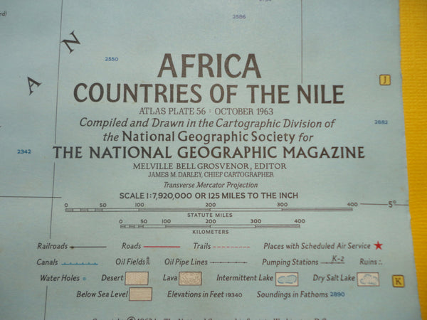 AFRICA Countries of the NILE - National Geographic Map