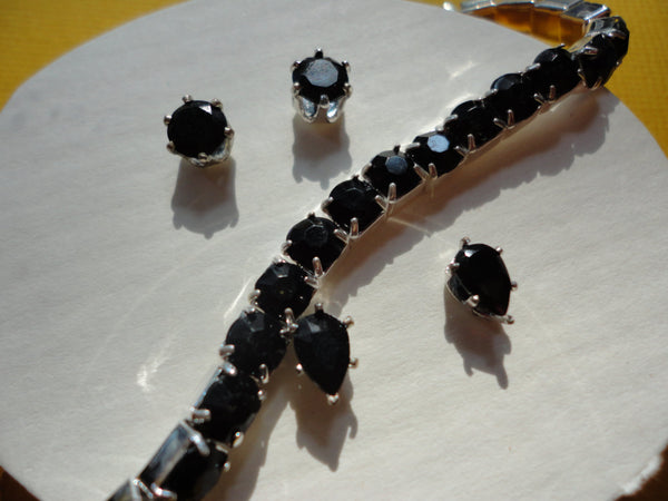 Black Onyx Pierced Ear Rings and Bracelet, Matching Set