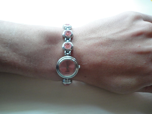 Pink Gem Silver Quartz Watch