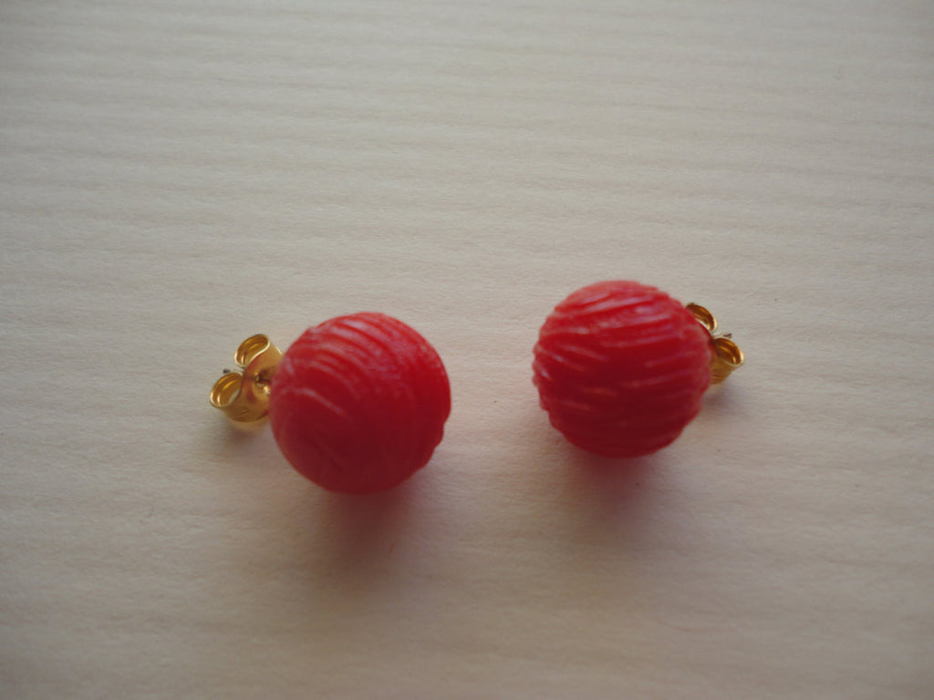Red Round Textured Ear Rings, Pierced FREE SHIPPING