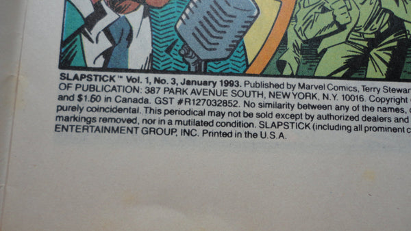 The Awesome Slapstick, Vintage Marvel Comic Book