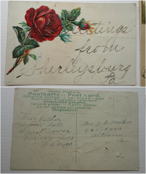 2 Early 1900's Antique Postcard, Greetings from... FREE SHIPPING