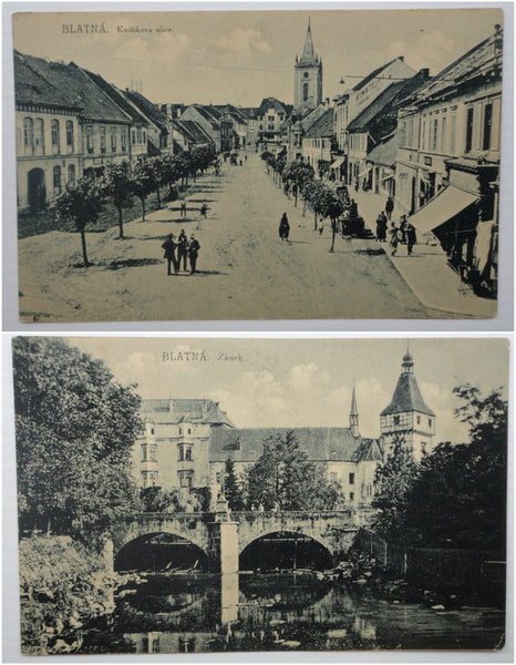 BLATNA Czech Antique 1925 Postcard, FREE SHIPPING