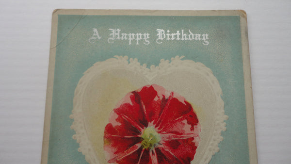 A Happy Birthday Postcard, Hearts and Flowers, Antique, FREE SHIPPING