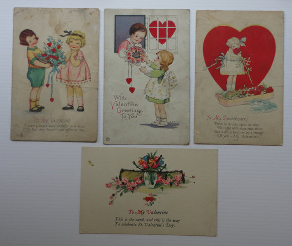 Valentine's Day Antique Postcards, FREE SHIPPING