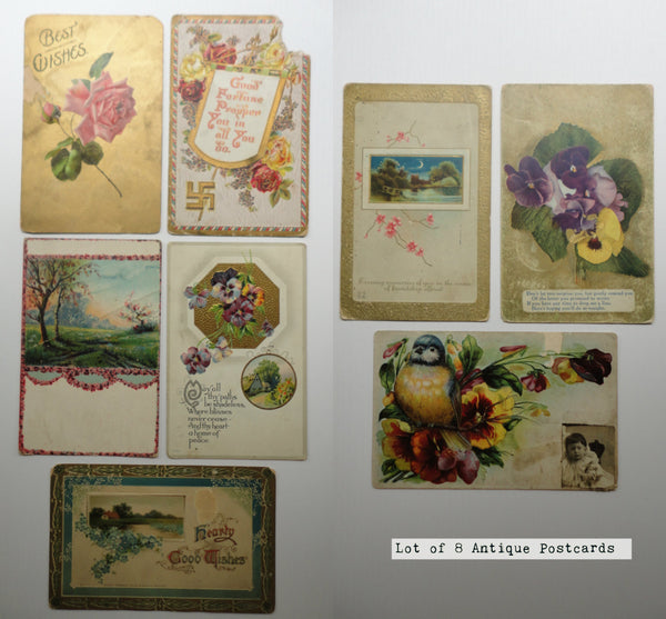 Eight 1900's Antique Postcards, FREE SHIPPING