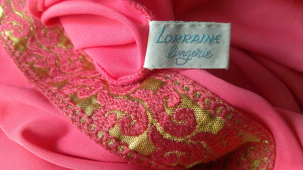 Lorraine Lingerie Pink and Gold Dress, Vintage Lingerie, Valentine's Day Gifts, Sexy Time, FREE SHIPPING