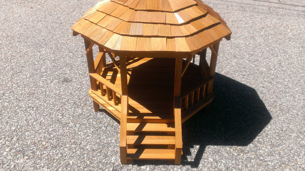 Gazebo, Wooden, Handcrafted, Dollhouse Addition, Dollhouse decor