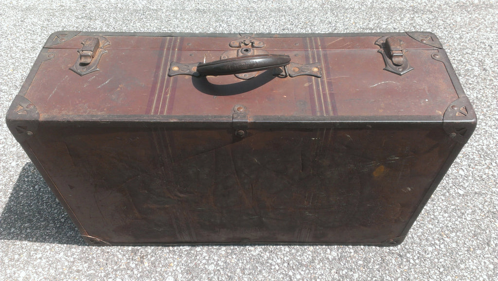 Antique Brown Metal Suitcase, Samson Luggage