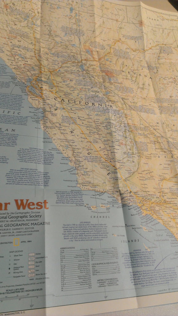 Far West USA, California, Arizonia, Washington, Nevada, Utah, West Coast, National Geographic Map, April 1984, FREE SHIPPING