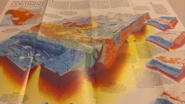The Shaping of a Continent, National Geographic Map, August 1985, FREE SHIPPING