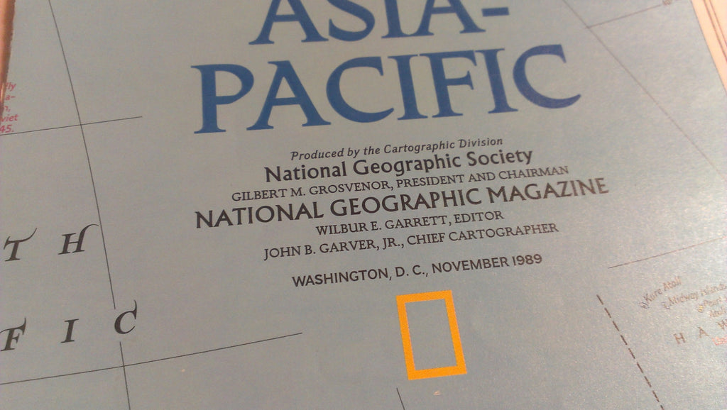 Asia Pacific, National Geographic Map, November 1989 FREE SHIPPING
