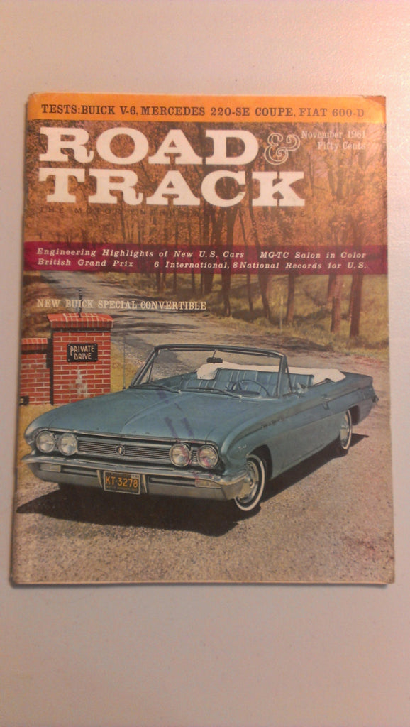 Road & Track Vintage Magazine, November 1961 - New Buick Special Convertible, FREE SHIPPING