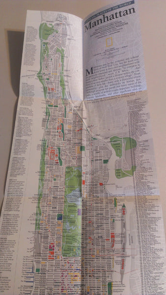New York City, Manhattan, National Geographic Map, September 1990 FREE SHIPPING