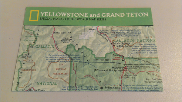 Yellowstone and Grand Teton, Special Places of the World Map Series, 1989 FREE SHIPPING