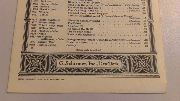 The Lord's Prayer - G. Schimrer's Choral Church Music, antique sheet music - FREE SHIPPING