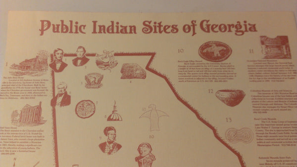Vintage Map, Public Indian Sites of Georgia, poster
