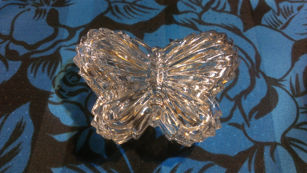 Vintage Butterfly Glass Jewelry Holder, Organizer, dish with lid, Glass Dish, Ring Dish, FREE SHIPPING