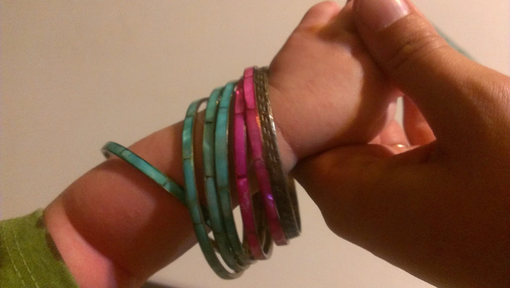 Pink, Turquoise and Gold Bracelets, Vintage Jewelry, Free Shipping