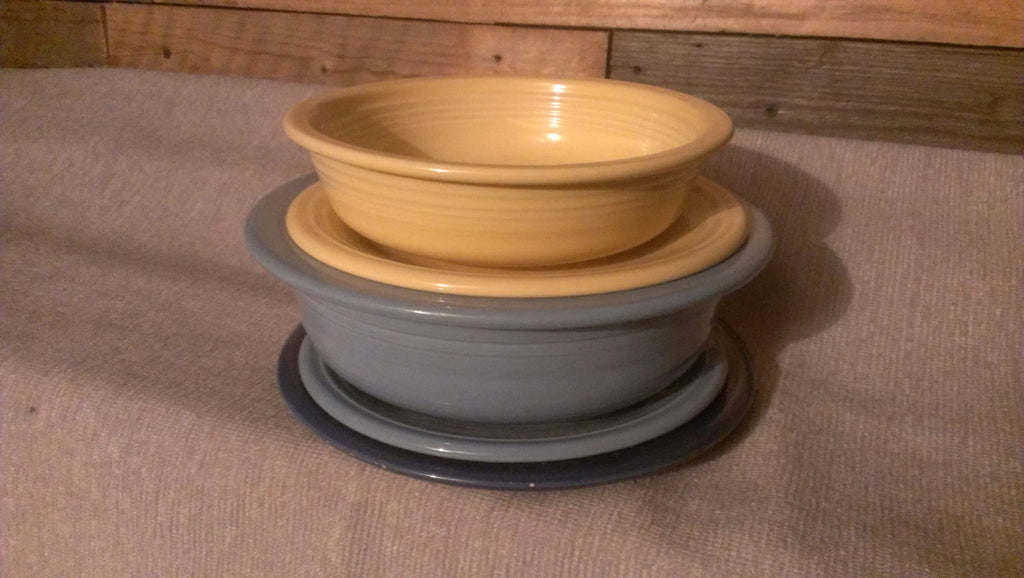 HLC Fiesta Bowls and Plates, Yellow and Blue Small/Large, made in USA, FREE Shipping