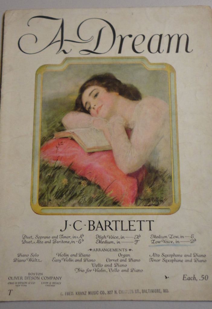 A DREAM, J C Bartlett, 1920's Sheet Music, FREE SHIPPING