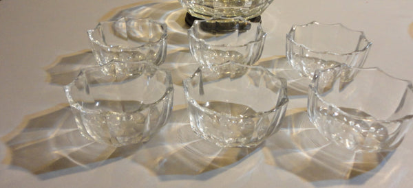 Clear THICK Crystal Serving Bowl Set - 1 Large 6 Small