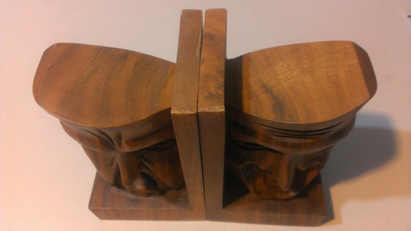 Wooden Faces Book Ends