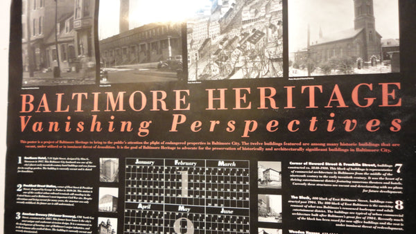 Baltimore, Maryland Poster - Heritage, Vanishing Perspectives 1993 Calender
