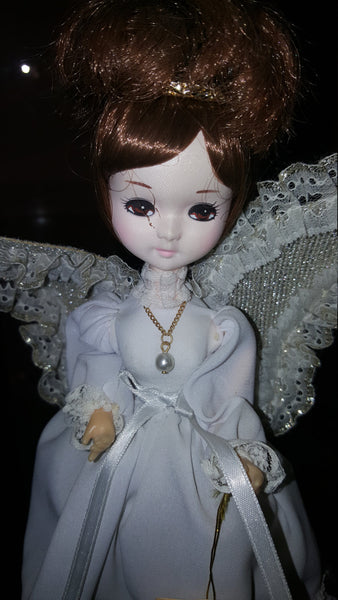 June Angel, White Dress Brinn's Vintage Porcelain Brunette Doll, free shipping