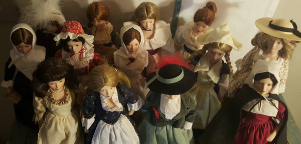 Franklin Mint, Heirloom Dolls, The Maids of the Thirteen Colonies, 1984