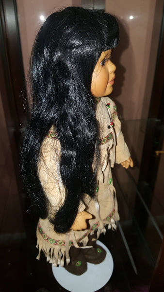 Indian Porcelain Doll, with stand, Native American Decor, Indian Dolls