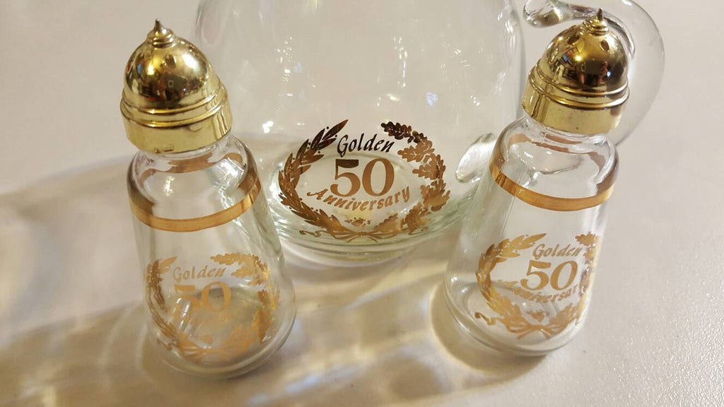 50th Golden Wedding Anniversary, set, gifts for Anniversaries, Gold Anniversary, free shipping