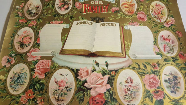 1901 God Bless Our Family, Family Record print, large poster, Antique Poster, Family Tree, Free Shipping