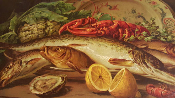 1900's German Print, Antique poster print, Fish, Fish Platter, Dinner, Restaurant Decor, Kitchen Decor, Free Shipping